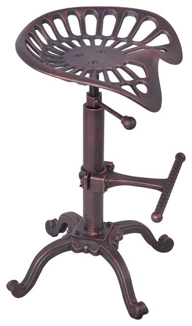 Jax Industrial Adjustable Tractor Barstool, Industrial Copper