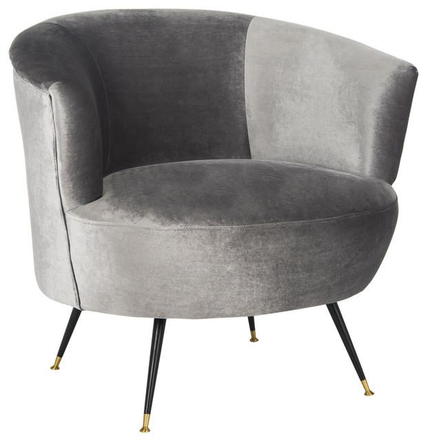 Collette Velvet Accent Chair, Gray.