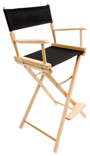 """Gold Medal 30"""" Natural Commercial Director's Chair, Black"""