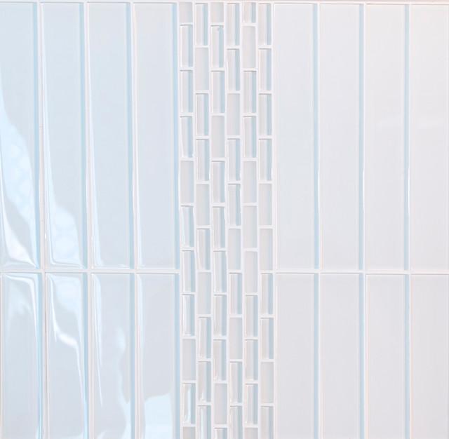 Super White Glossy Subway Glass Tile, Box of 35 Sheets