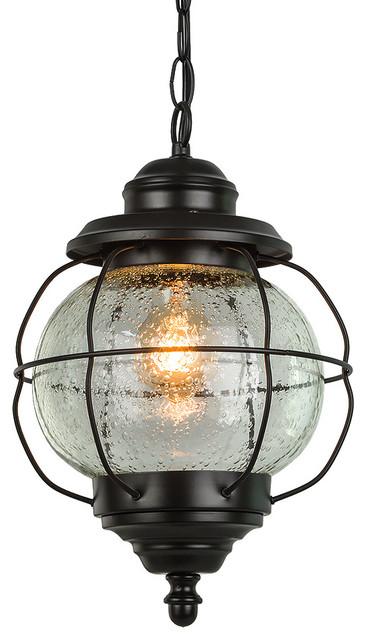 Traditional Outdoor Aluminum Globe Pendant Light Exterior Hanging Lamp.