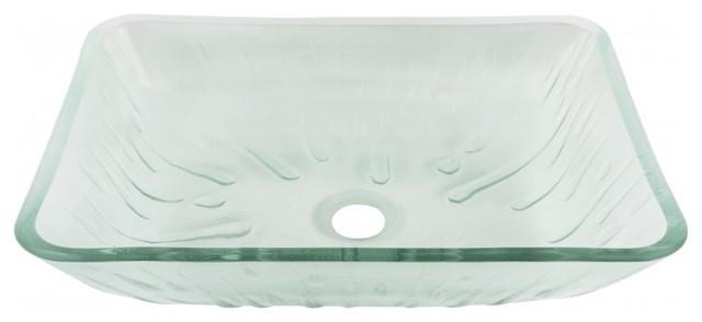 Vigo Rectangular Icicles Glass Vessel Bathroom Sink.