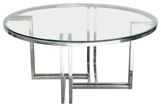 Deko Polished Stainless Steel Round, Round Glass And Stainless Steel Coffee Table