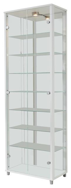 Vitrine Display Cabinet With LED, 2 Door, 7 Shelves, White