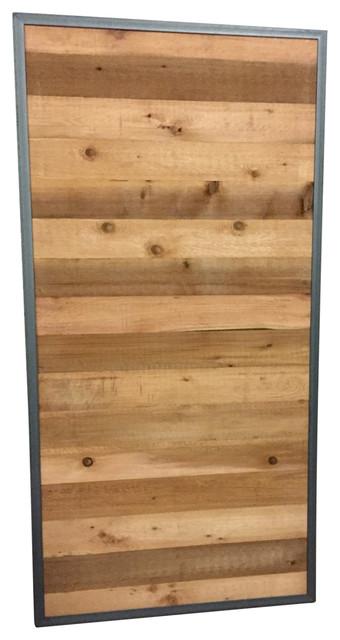 Horizontal Plank Sliding Barn Door With Metal Trim