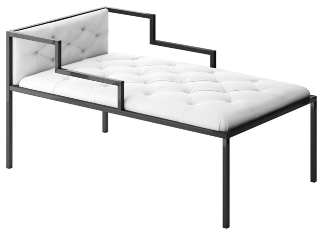 Oscar chaise short with frame modern indoor chaise for Aluminum frame chaise lounge