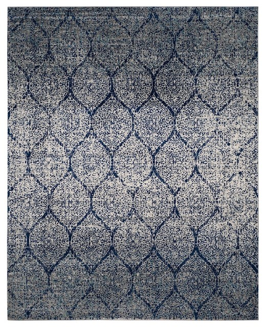 Madison Area Rug, Rectangle, Navy-Silver, 9&x27;x12&x27;.