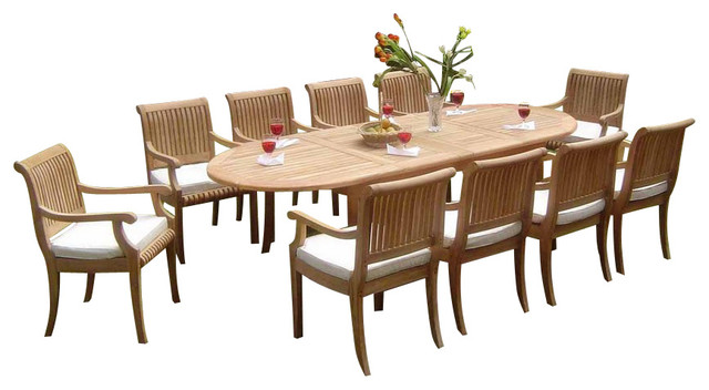 11-Piece Outdoor Teak Dining Set, 117 Extension Oval Table, 10 Giva Arm Chairs.