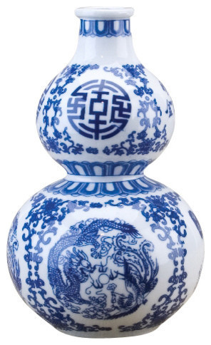 Gourd Vase Blue And White Asian Vases By Oriental Danny