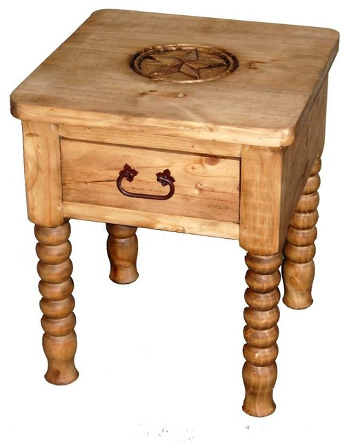Spindle leg end table with star detail southwestern for Southwestern coffee table
