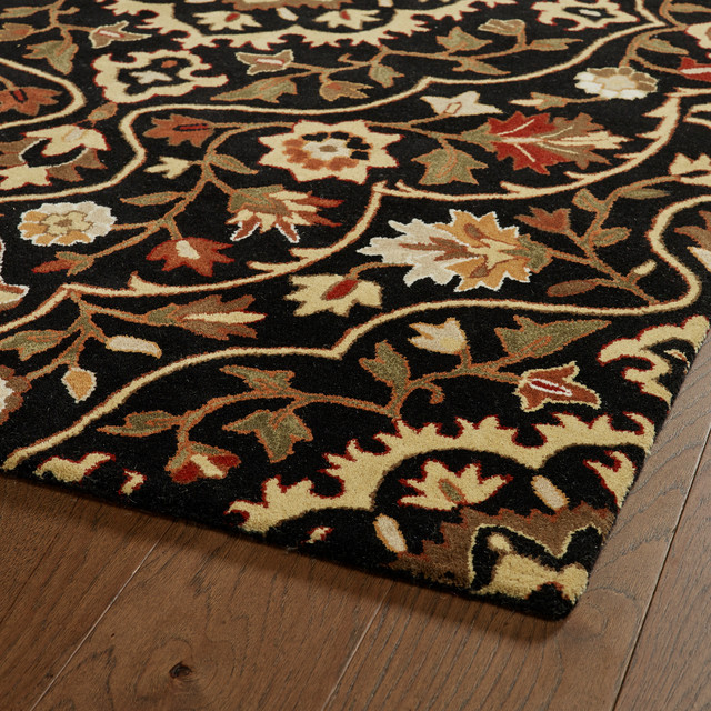 Kaleen Hand Tufted Middleton Black Wool Rug, 8&x27;x10&x27;.