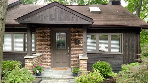 Need help with front door color for dark brown cedar house?