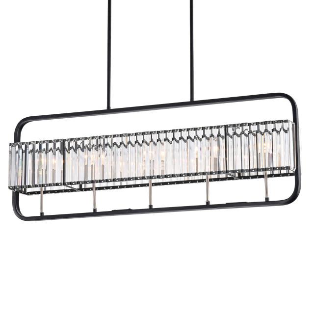5-Light Matte Black and Brushed Nickel Linear Crystal Chandelier Glam Lighting