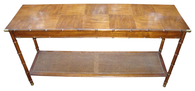 Consigned Hollywood Regency Paul Mccomb Bamboo Cane Table Console Tables