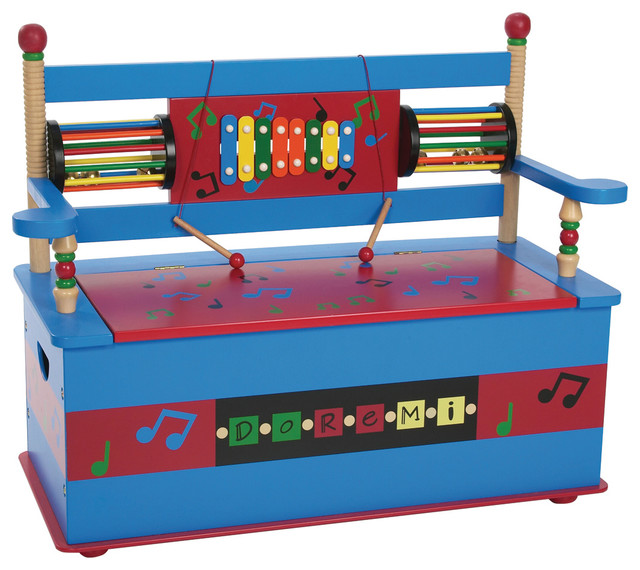 Musical Bench Seat With Storage Transitional Kids Storage Benches And Toy