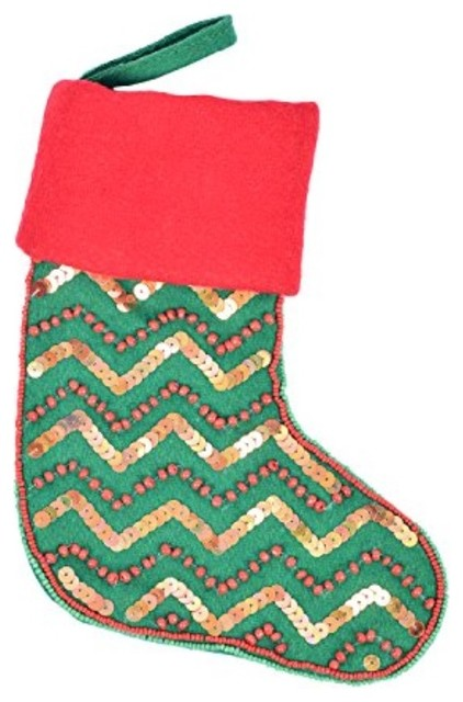4fd017a97bb Ornament Tree Hanging Decorative Stocking Bag Embroidered Beads Large