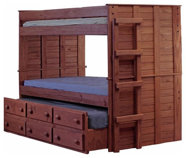 Haverhill Extra Long Full Over Full Combo Bunk Bed, Mahogany.