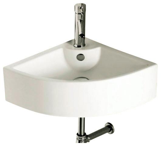 Corner White Ceramic Wall Mounted Or Vessel Bathroom Sink Contemporary Bathroom Sinks By