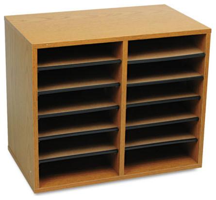 "Wood/Fiberboard Literature Sorter, 12-Section, Oak, 19 5/8""x11 7/8""x16 1/8"" - Contemporary ..."