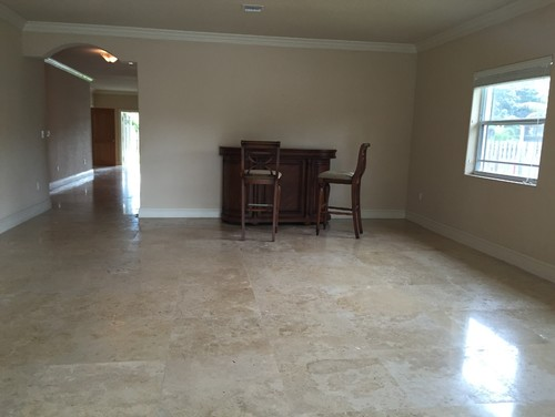 wall colors with travertine dark furniture