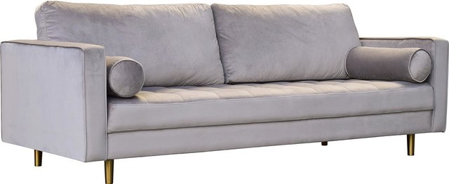 Sofa DOVETAIL GILBERT Brushed Brass Gray