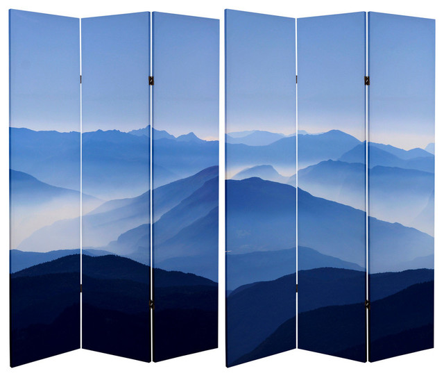 6' Tall Double Sided Misty Mountain Canvas Room Divider