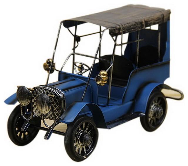 Retro Nostalgic Car Model Small Ornaments Iron Room Decorations Classic Car Blue