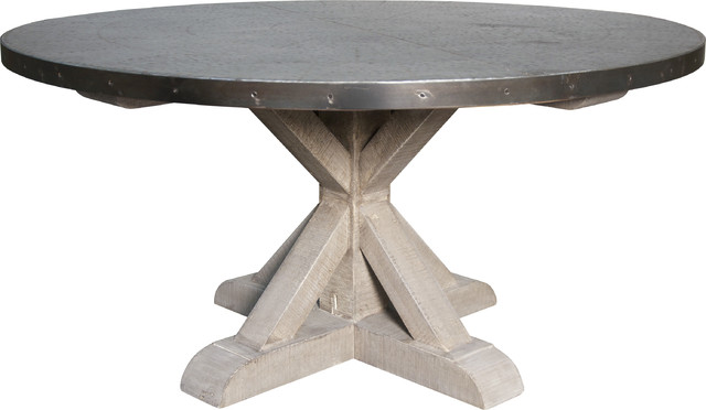 Zinc Round Table Withxbase Industrial Dining Tables