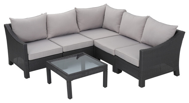 Caspian 6 Piece Outdoor Wicker Sectional Sofa Set With Water Resistant Cushions.
