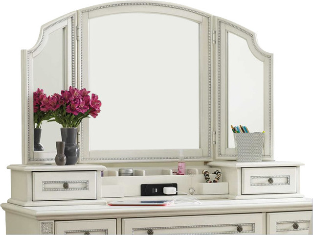 Hooker Furniture Opus Designs Claire Hutch And Vanity Mirror In White Transitional Buffets