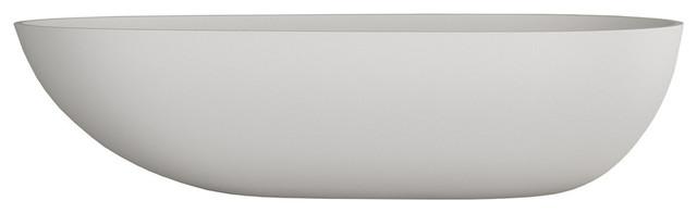 Stonekast Ovale Sit on Basin, White Matte, 600 mm