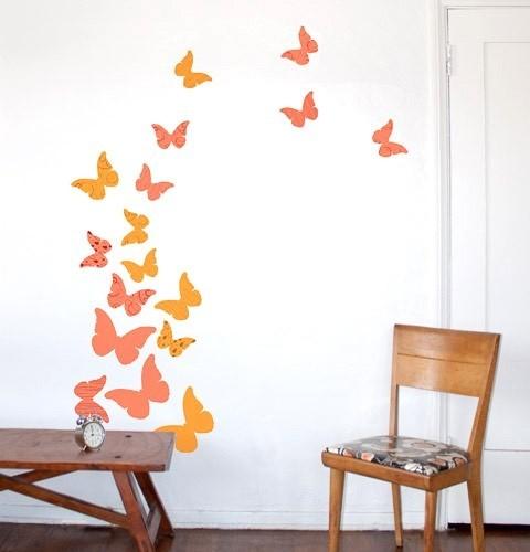 Butterflies Summer Peach Wall Decal Contemporary Wall Decals