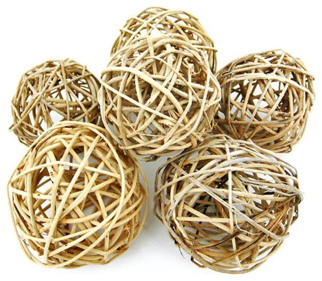"Small Decorative Balls Captivating Natural Willow Decorative Balls 3 124"" 6Piece Set  Tropical Design Decoration"