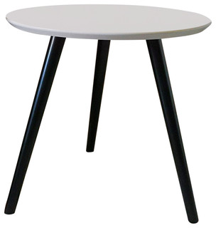 Modern Round Side End Table Solid Beech Wooden Legs And Mdf
