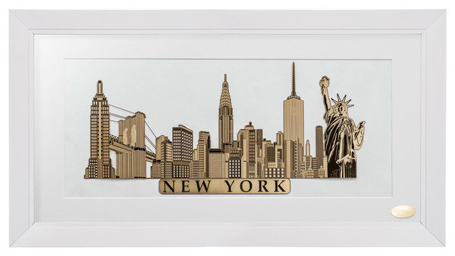 New York City Skyline - With Black & Gold Frame, - Transitional ...