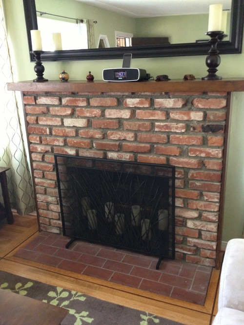Help With Fireplace Mantel Brick Vs Glass Tile