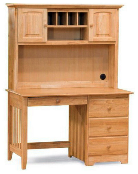 Wood Computer Desk with Hutch Set traditional-kids-desks-and-desk-sets