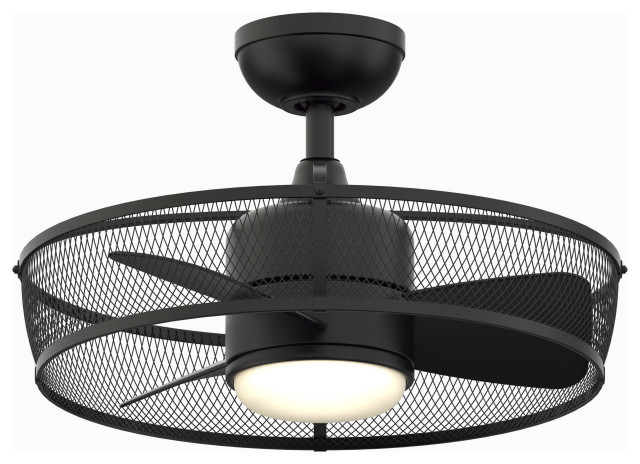 Henry 20 Caged Ceiling Fan Black With Led Transitional Ceiling Fans By Buildcom