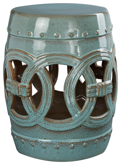 Fabulous Abbyson Living Moroccan Ceramic Garden Stool Rustic Teal Lamtechconsult Wood Chair Design Ideas Lamtechconsultcom