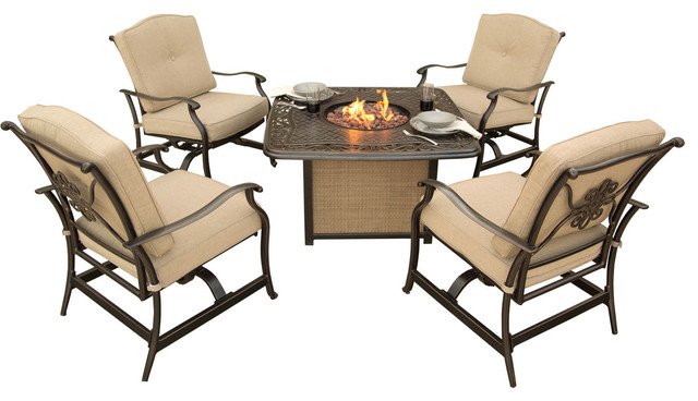 Traditions 5-Piece Seating Set, Cast-Top Fire Pit Table