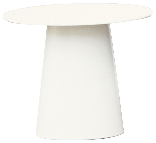 Powder Coated Aluminium Feel Side Table, White, Small Contemporary Side  Tables