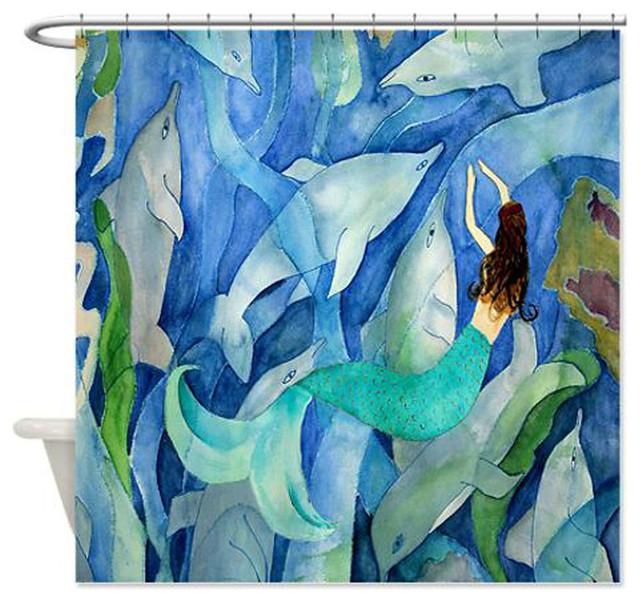 Dolphin Mermaid Party Shower Curtain Beach Style Shower Curtains