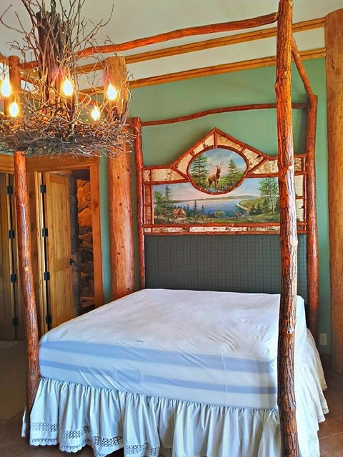 Rustic Sassafras and Birch Canopy Log Bed with Custom Painting rustic-canopy -beds