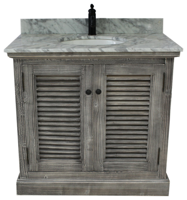 "37"" Rustic Solid Fir Sink Vanity, Gray, No Faucet."
