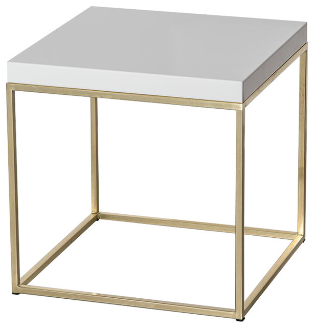 Manti Cube White On Brass Modern Side Tables And End Tables By Patrick Cain Designs