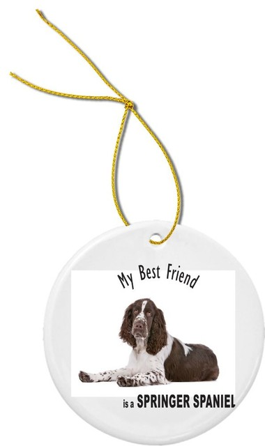 My Best Friend Black Springer Spaniel Dog Round Porcelain Christmas Ornament