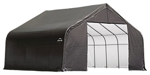 Shelter Logic Outdoor Sheltercoat Garage 22&x27;x20&x27;x13&x27;, Peak Standard, Gray.