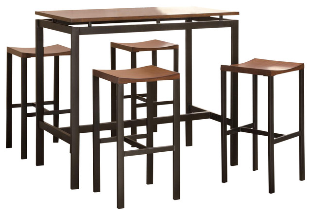 Atlus Counter Height Dining Set Black Metal Table W/ Warm Oak Top 4 Stools  Contemporary
