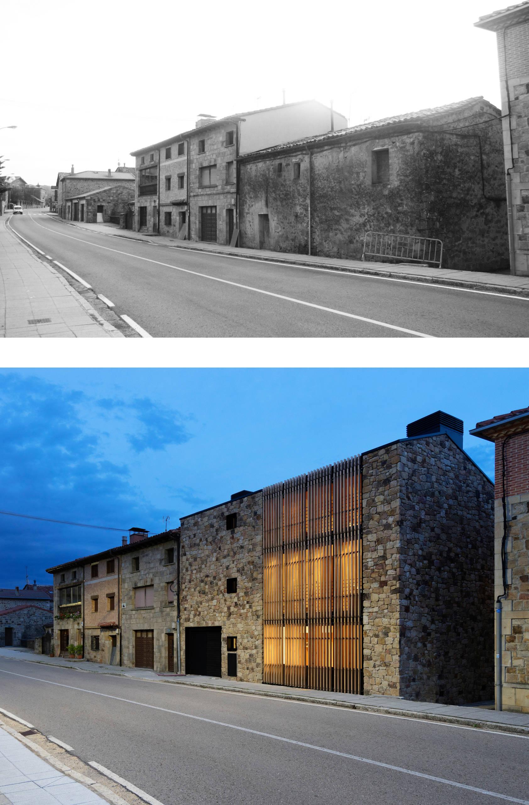 Comparativa del antes y después de la fachada posterior