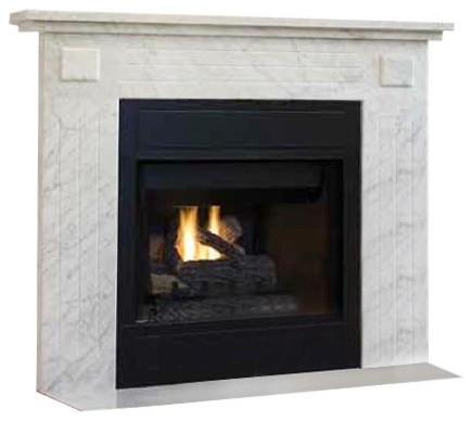 "32"" Brt B-Vent Elec. Fireplace, White Brick Hearth & Black Paint, Natural Gas."